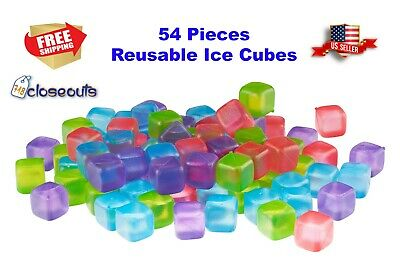 54 Piece Plastic Reusable Ice Cubes Coolers Refreeze Pool Party BPA FREE