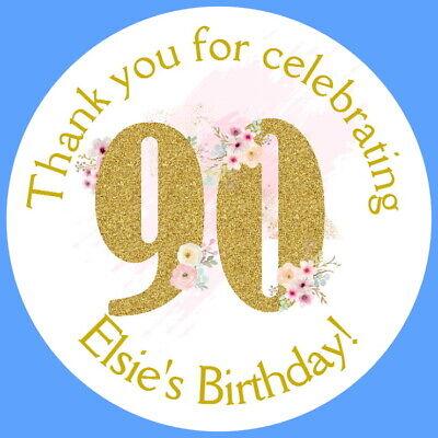 Appena Personalised Gloss 90th Festa Di Compleanno Favore Etichette, Adesivi Di Ringraziamento-mostra Il Titolo Originale