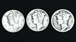 Mercury-Dimes-90-Silver-3-coin-lot-034-Junk-Silver-034-Average-Circulation
