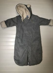 a0ee9f5111fc Baby Gap Boy Gray Snowsuit Bunting Fleece Size 3 6 Months Sherpa