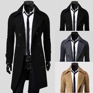 Grosse-Groesse-Herren-Winter-Trenchcoat-Zweireiher-langer-Mantel-Jacke