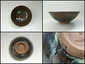Japanese-Pottery-Tea-Ceremony-Bowl-Cup-Chawan-Vintage-Signed-Shodai-Ware-W495