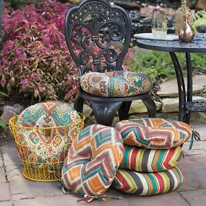 Magnificent Details About Red Orange Blue Fiesta Collection Outdoor 15 Round Bistro Chair Cushions 2P Set Home Remodeling Inspirations Cosmcuboardxyz