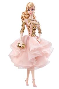 Nuevo 2017 oro Label Silkstone Rubor Y oro Cóctel Vestido De Barbie