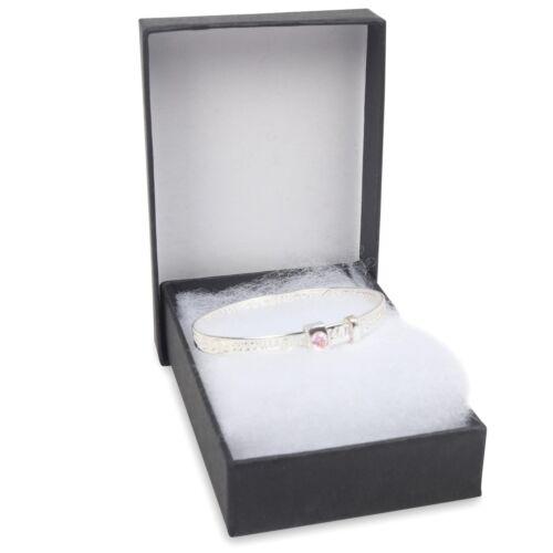 NEW 925 Sterling Silver Baby  Little princess christening Bracelet Pink CZ Boxed