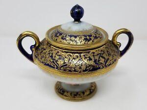Antique-Nippon-Handpainted-Sugar-Bowl-Cobalt-With-Gold-Moriage-Maple-Leaf-Mark