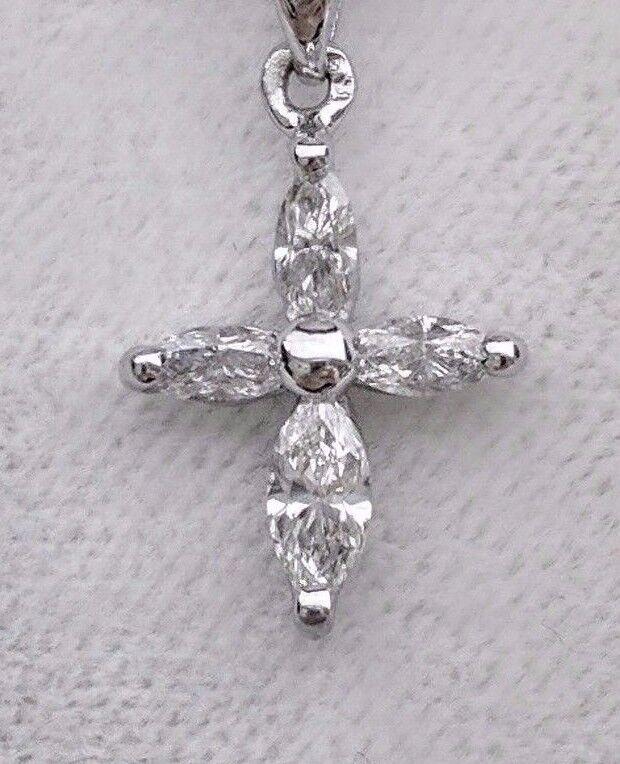 Diamond Cross Pendant 100% Natural 14K White gold 0.51 Carat Retail Price  1,599