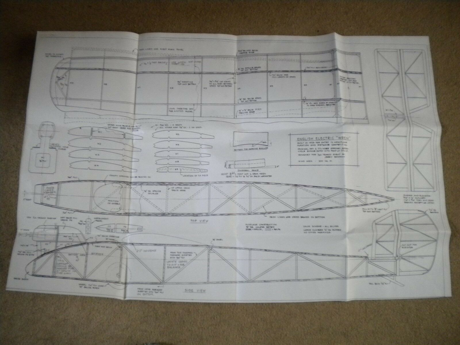 R C English Electric Wren Plans And Doentation Including Some Pre Cut Balsa