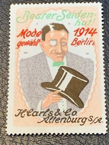 POSTER-STAMP-VIGNETTE-GERMANY-MAN-HAT-COMPANY-ALTENBURG-from1913