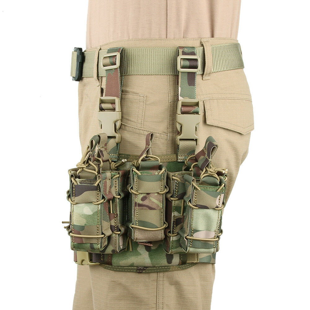 Tactical Drop Leg Magazine Pouches Molle Hanging Adjustable Hunting Bag Set