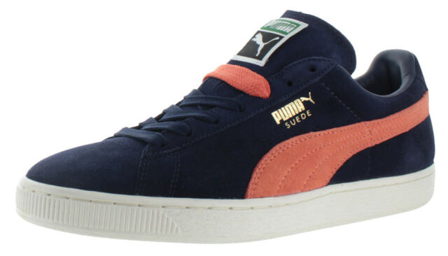 premium selection cd55f 35827 PUMA Suede Classic Mens 356568-42 Peacoat Blue Orange Athletic Shoes Size 9