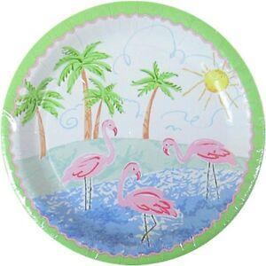 "8 Flamingo 9/"" Paper Plates Bird Birthday Luau Hawaiian Tropical Summer Party 1st"