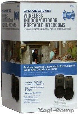 OPEN Chamberlain NTD2 Wireless Indoor Outdoor Water Resistant Portable Intercom