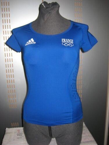 Adidas T-Shirt France Top Oberteil Sport Running Fitness 32 Damen blau 559016
