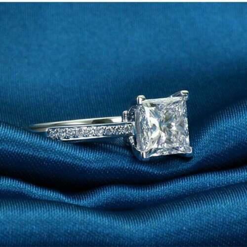 1 Ct Princess Cut Diamond Solitaire Wedding Engagement Ring 14K White Gold GP 3