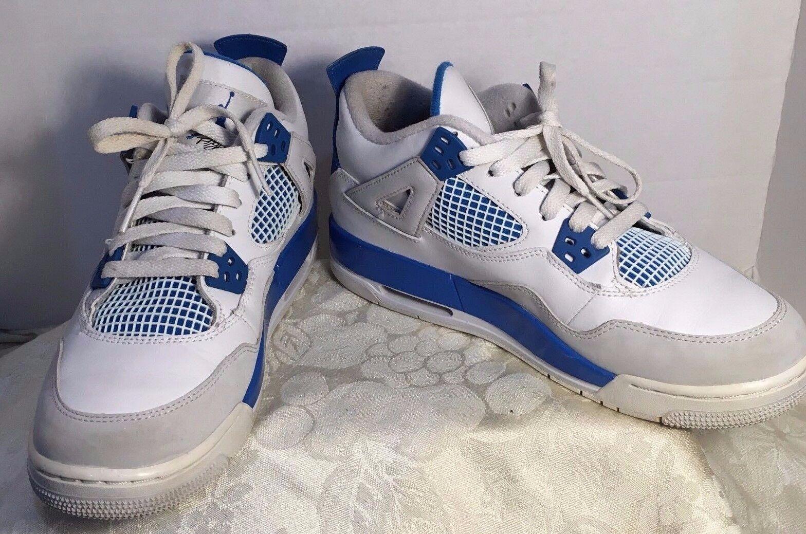 NIKE AIR JORDAN 4 RETRO BG WHITE-LEGEND BLUE Price reduction Wild casual shoes