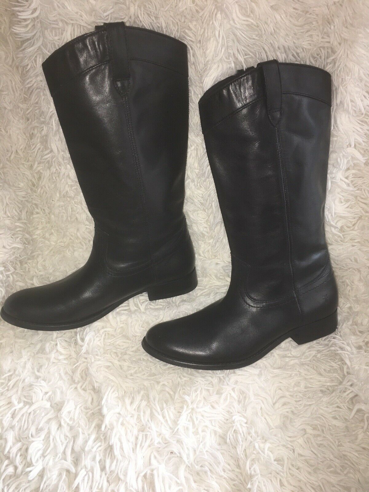 Frye Black Leather Melissa Pull On Round Toe Boot 3471447 sz 8 b new