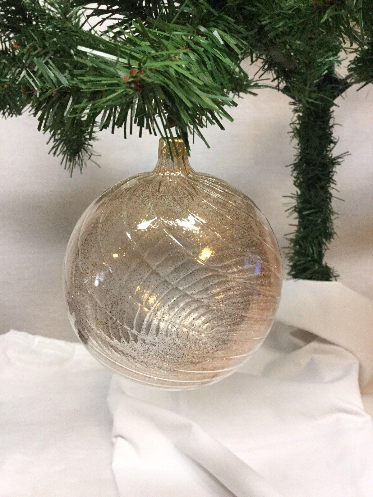 Neiman Marcus  Round Glass Ball  Christmas Ornament Iridescent Copper Gold set 6