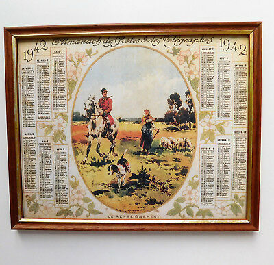 Framed 1940s French calendar hunting picture Almanach postes telegraphes 1942