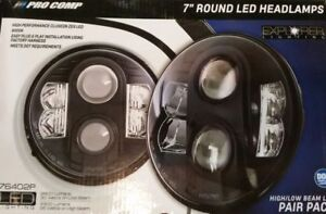 Pro Comp Suspension 76402P LED Headlight Pair Round 7 in LED Headlight
