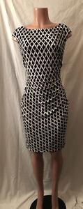 **Elegant Midnight Black & Coconut White Ralph Lauren Geometric Dress~Size 14**