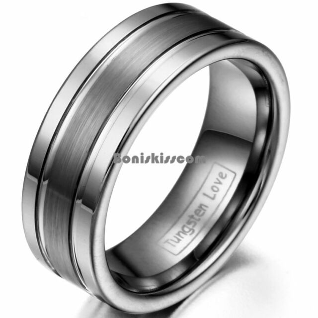 8mm Comfort Fit Brushed Center Double Polished Grooved Wedding Band Men's Ring