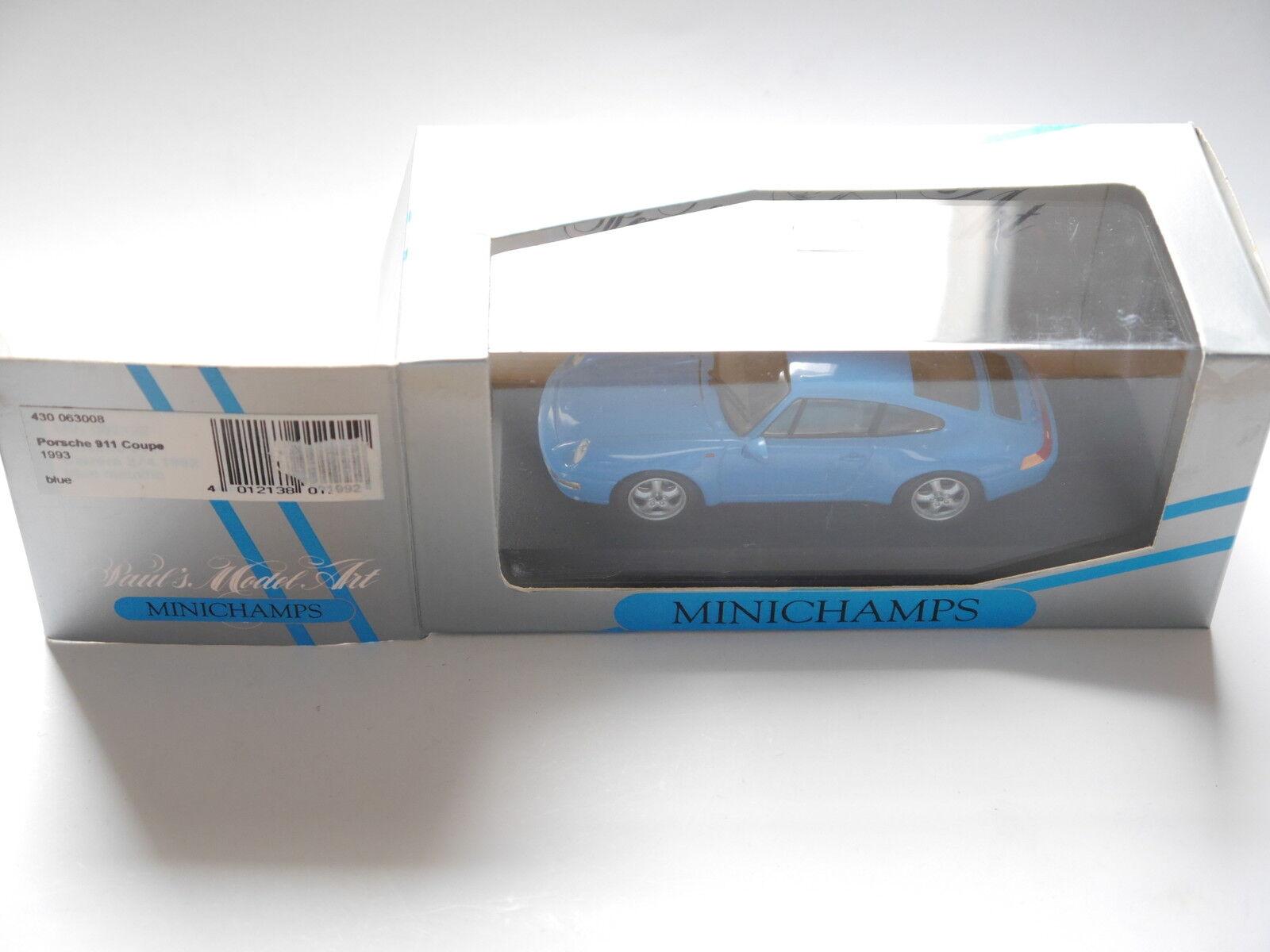 Porsche 911 (993) 1993 Coupe blu blu Blu blu, Minichamps 430063008 1 43 Boxed