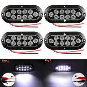 4X-10LED-6-034-White-LED-Reverse-Backup-Light-Car-Truck-Oval-Surface-Mount-12V-24V