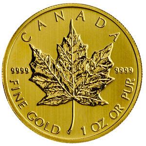 1 oz Gold Maple Leaf - 50 Dollar Kanada Goldmünze 999,9 Verschiedene Jahrgänge