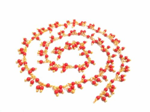 5 Feet Coral Cluster Round 2-2.5mm Smooth Beads Rosary Beaded Chain Gold Plated