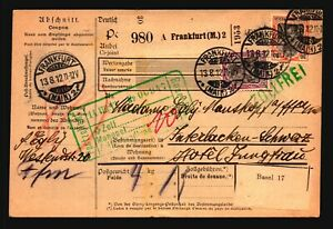 Germany 1912 Parcel Receipt to Switzerland w/ Better - Z17077