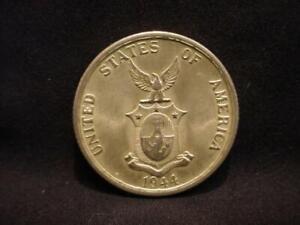 Phillipines-1944S-Silver-50-Centavos-Coin-AU