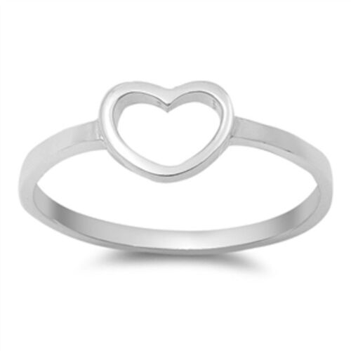 Cute Solid Heart  .925 Sterling Silver Ring Sizes 3-10