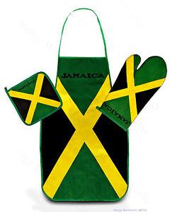 Jamaica-Kitchen-amp-BBQ-Set-w-Apron-Oven-Mitt-Pot-Holder-FREE-S-H-Reggae-Flag-NEW
