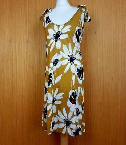 Joe Browns Midi Dress UK 12 Mustard Gold Floral Jersey Shoulder Ties