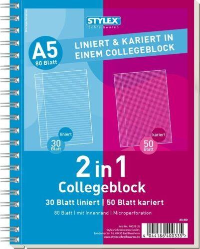 Stylex Collegeblock A5 Spiralblock 2 in 1 liniert kariert 1,11€//1Stk 10er Pa