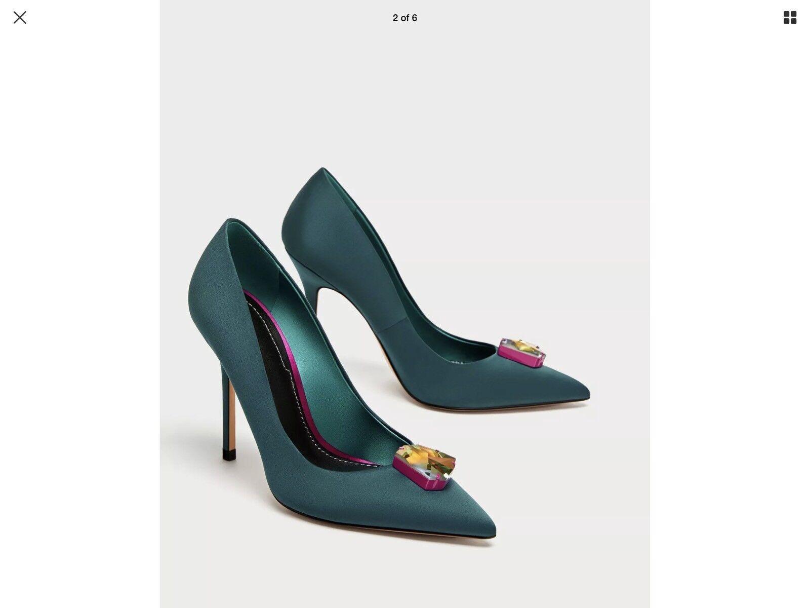 ZARA SATIN HIGH HEEL chaussures WITH SWAROVSKI CRYSTAL Sz 39 8.5