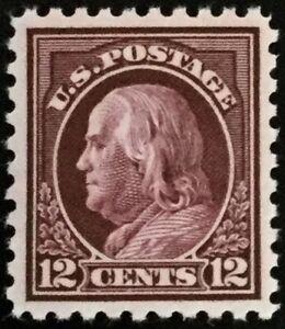 435-Mint-OG-NH-Choce-XF-S-1914-Reg-Issue-Claret-Brown-12c-Franklin-P-O-Fresh