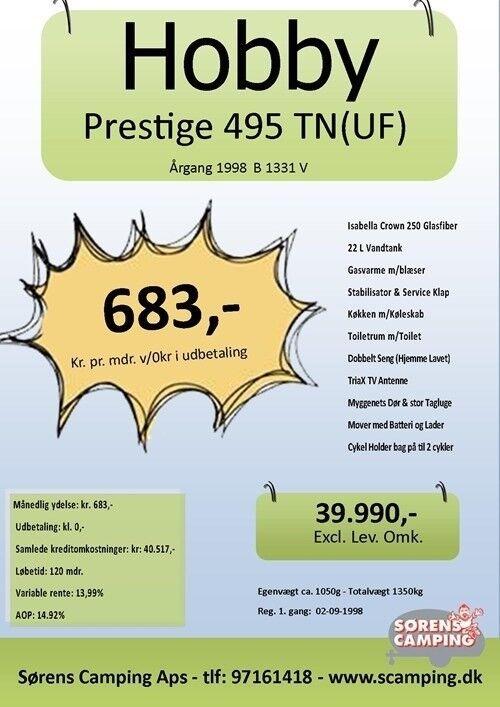 Hobby Prestige 495 Uf, 1998, kg egenvægt 1050