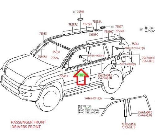 LEXUS OEM FACTORY DRIVERS /&  PASSENGER FRONT DOOR BELT MOULDINGS 2003-2009 GX470