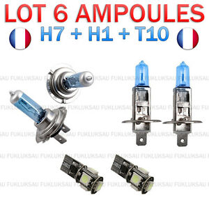 kit 6 ampoule xenon 2x h7 2x h1 2x led t10 peugeot 407 hdi i cc sw 3p 5p ebay. Black Bedroom Furniture Sets. Home Design Ideas