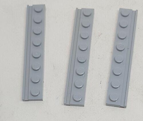 Lego 3 x Platte 1x8  mit Führungsschiene Schiene 4510 neu hellgrau