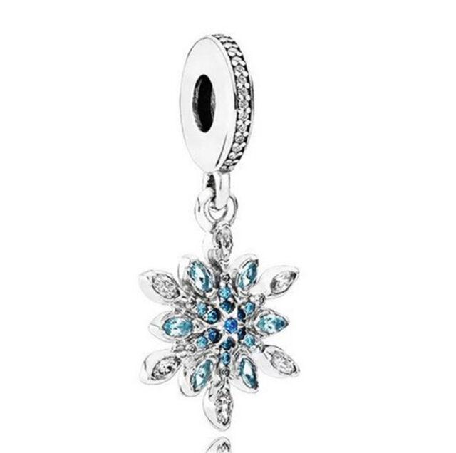 DIY 925 Silver Crystal Snowflake Charm European Beads Fit Necklace Bracelet !!