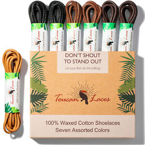 7 Colorful Pairs of Round 100/% Premium Cotton Shoelace Dress Shoe Laces Waxed