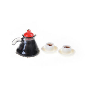 3Pcs Coffee Pot Cup and Saucer Set Dollhouse Miniature Home Decor Pop!