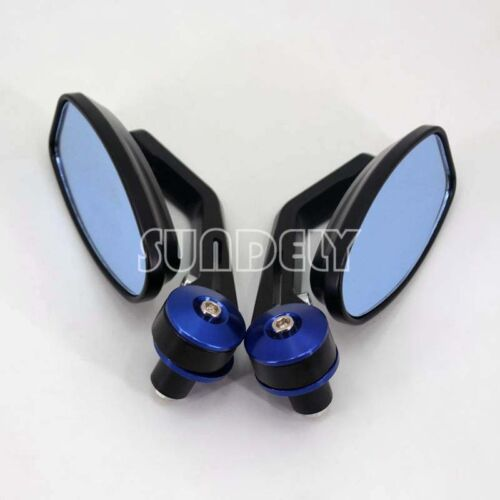 BLUE 7//8″ 22MM UNIVERSAL MOTORCYCLE BIKE HANDLE BAR END REARVIEW SIDE MIRRORS