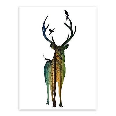 Minimalist Silhouette Deer Vintage Wall Art Animal Poster Prints Canvas Painting