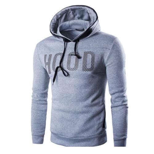 Mens Hoodies Jumper Pullover Slim Fit Sport Hooded Tops Winter Casual Sweatshirt