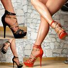 Neu Luxus Damen Schuhe Party Sandalen High Heels Plateau Stiletto SeXy Glitzer