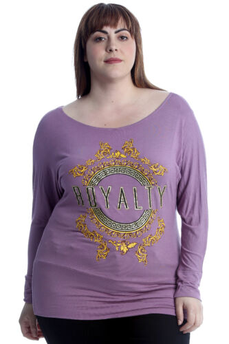 New Womens Plus Size Top Ladies Royalty Print Batwing T-Shirt Sale Elastic Band